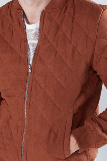 Quilted Puffer Jacket with Long Sleeves and Zip Closure