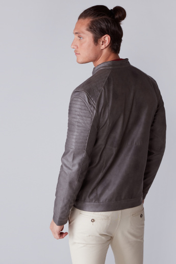 Textured Biker Jacket with Pocket Detail and Zip Closure