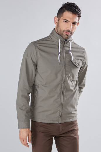 Long Sleeves Jacket with Pocket Detail and Zip Closure