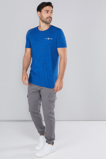 Textured Longline T-Shirt with Round Neck and Short Sleeves
