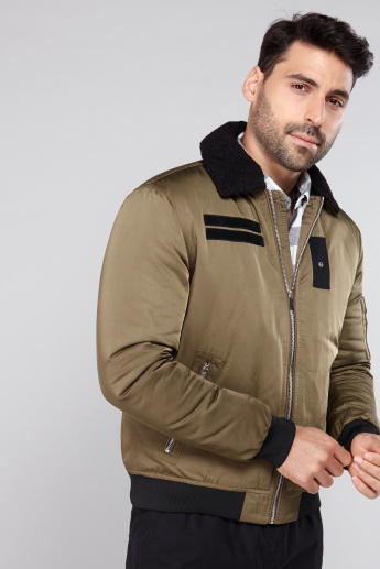 Borg Collar Bomber Jacket with Long Sleeves and Zip Closure