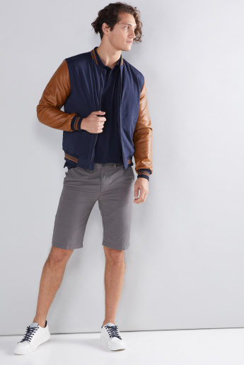 Pocket Detail Bomber Jacket with Long Sleeves and Zip Closure