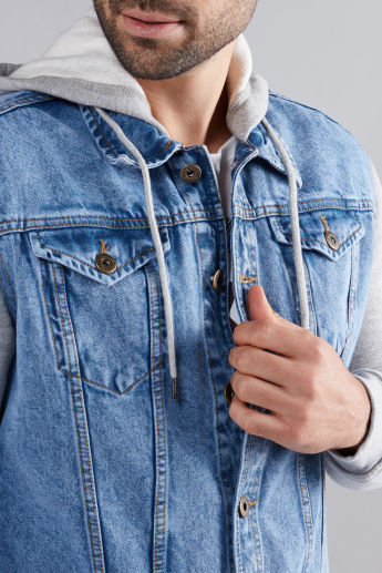 Denim Jacket with Button Closure and Hood