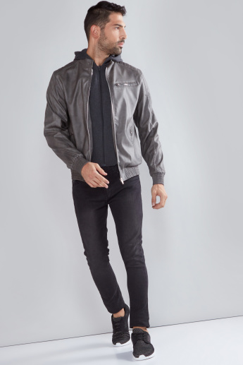 Textured Bomber Jacket with Zip Closure and Pocket Detail