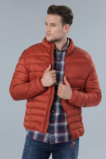 Quilted Jacket with Long Sleeves and Zippered Closure