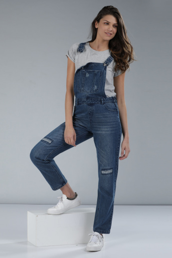Distressed Dungaree with Pocket Detail