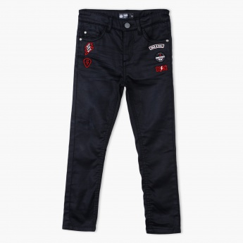 Embroidered Full Length Pants with Button Closure
