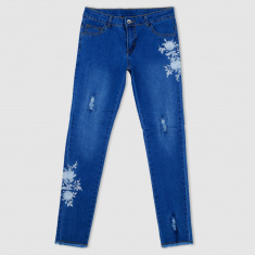 Floral Embroidered Jeans with Frayed Hem