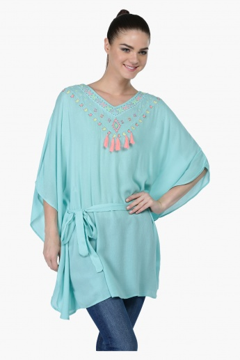 Embroidered Kimono Top with 3/4 Sleeves and V-Neck