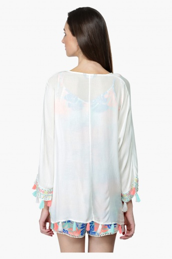 Embroidered Shrug with Tassels