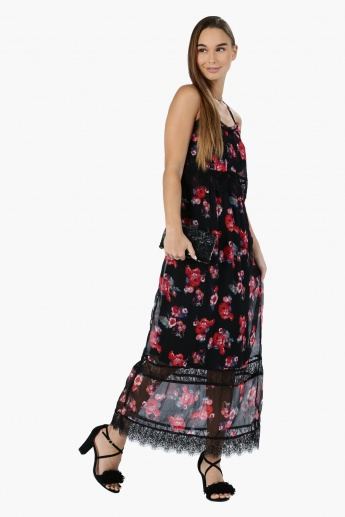 Printed Maxi Dress with Lace Detail