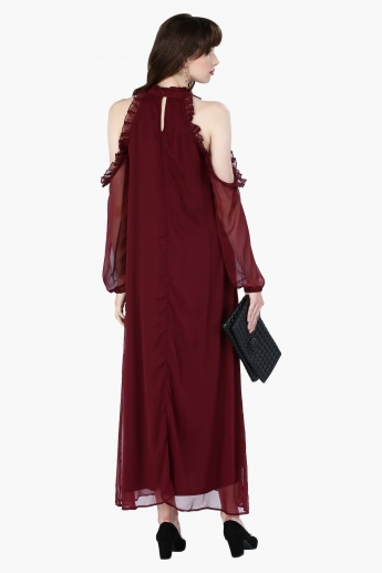 Maxi Dress with Cold Shoulders