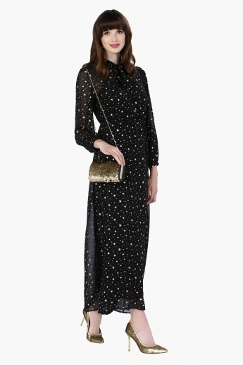 Star Print Maxi Dress with Long Sleeves