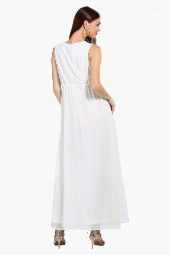 Sleeveless A-Line Maxi Dress with Embellished Waist