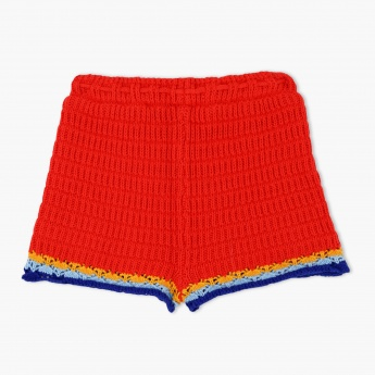 Crochet Shorts with Contrasting Hems