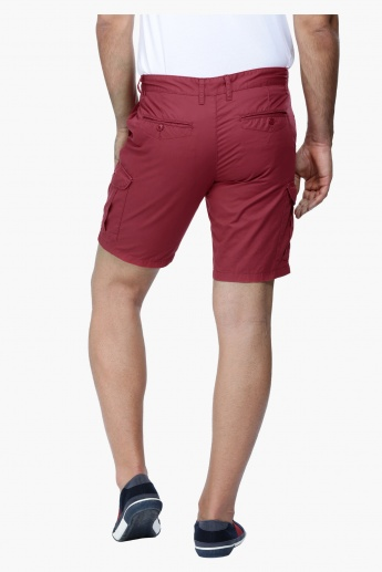 Shorts with Button Closure and Pocket Detail