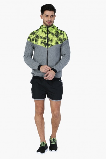 Printed Jacket with Hood and Long Sleeves