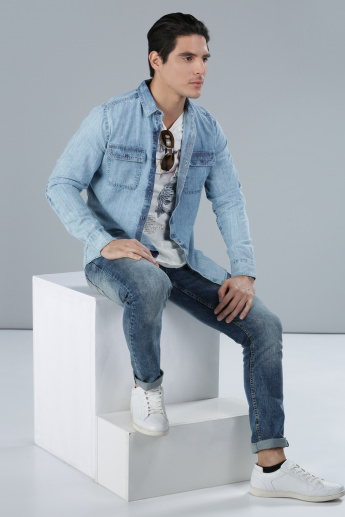 Denim Shirt with Long Sleeves and Button Placket