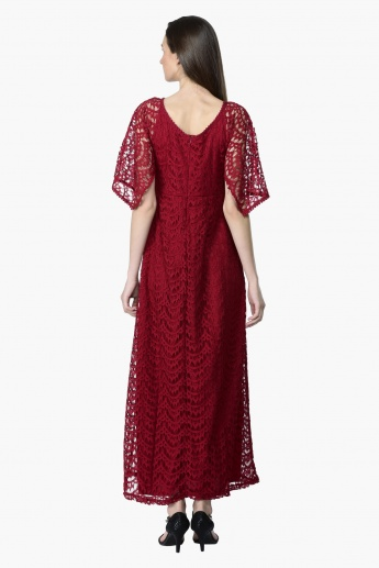Short Sleeves Lace Maxi Dress