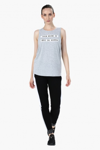 Melange Printed Sleeveless T-Shirt