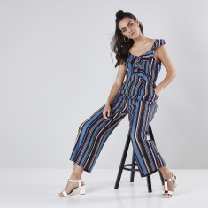 Ruffle Detail Jumpsuit with Stripes and Spaghetti Straps