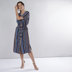 Striped V-neck Midi A-Line Dress with Short Sleeves