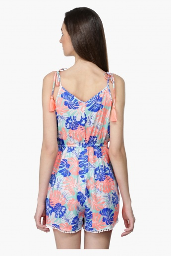 Printed Playsuit with Tie Up Shoulders