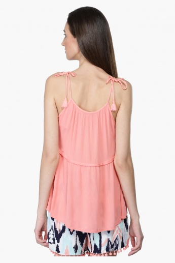 Embroidered Neck Camisole Top with Tie Up Shoulders