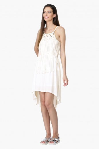 High Low Hem Dress with Crochet Neck and Fringes
