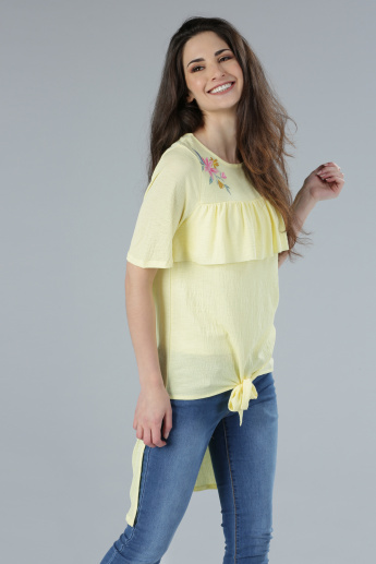 Embroidered Top with High Low Hem