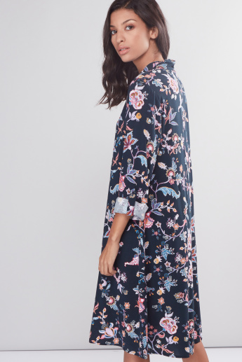 Floral Printed Midi Dress with Long Sleeves and Belt