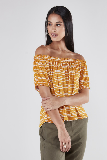 Striped Off Shoulder Top with Short Sleeves