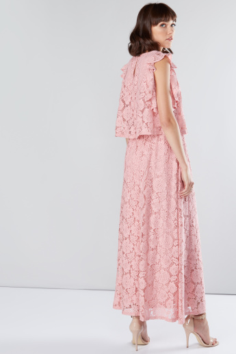 Layered Lace Maxi Dress with Flutter Sleeves