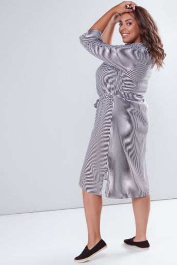 Striped Midi Shirt Dress with Complete Placket and Tie Up Belt
