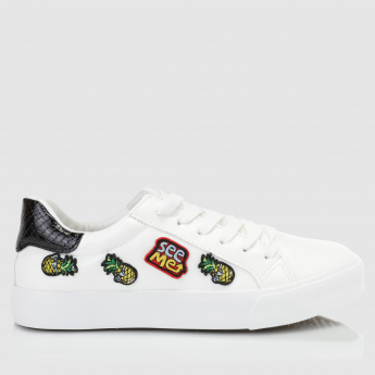 Applique Detail Lace-Up Sneakers