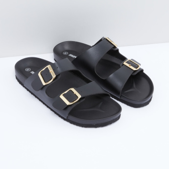 Dual Strap Slides with Buckle Detail
