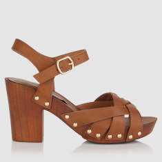Embellished High Heel Sandals with Buckle Closure