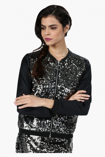 Sequin Embellished Bomber Jacket