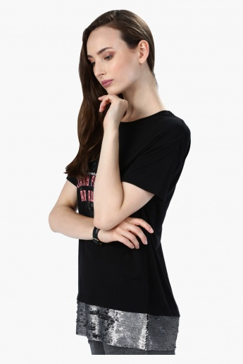 Graphic Print T-Shirt with Sequin Panel at Hem