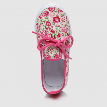 Floral Print Slip-On Canvas Shoes