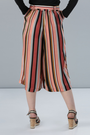 Striped Culottes with Belt Detail