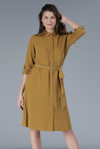 Long Sleeves Shirt Dress with Tie-Up Belt Detail