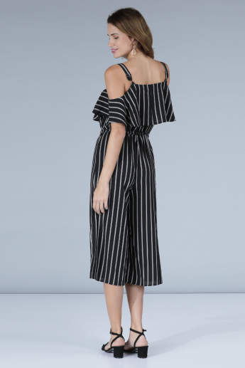 Striped Jumpsuit with Tie-Up Detail