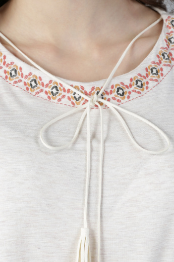 Round Neck Top with Tie Up Detail