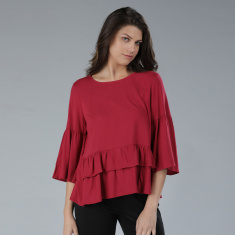 Round Neck Top with Frill Detail and 3/4 Sleeves