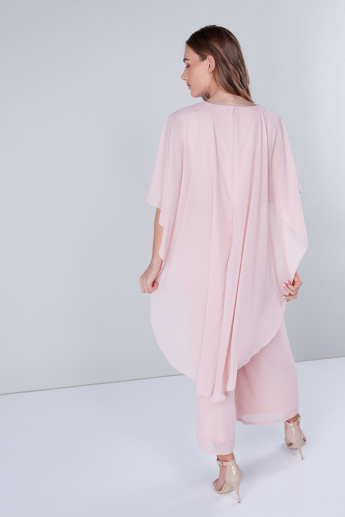 Embroidered Jumpsuit with Round Neck and Cape Sleeves