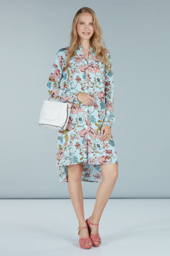 Printed Shirt Dress with High Low Hem