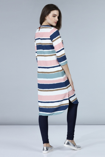Striped Round Neck Tunic with 3/4th Sleeves