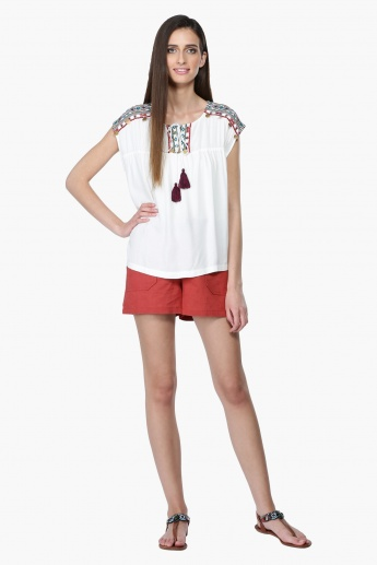 Embroidered Top with Tie Up Neck