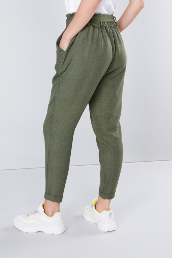 Mid-Rise Pants with Pocket Detail and Belt